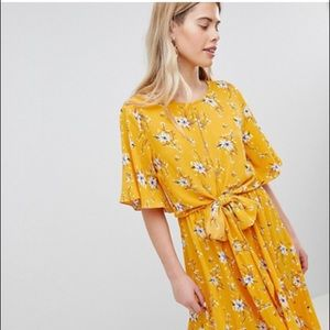 New Look ASOS yellow floral tie dress